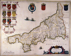 Map of Cornwall from 1650